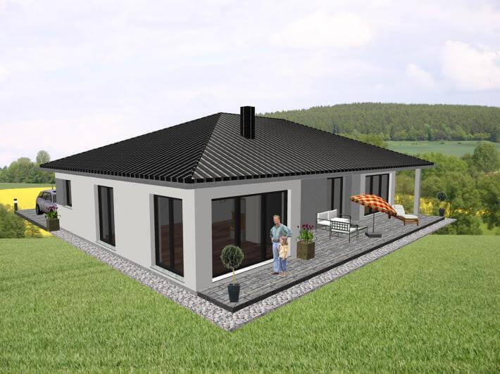 ebenerdiges wohnen mit ansprechendem grundriss charakter jk traumhaus. Black Bedroom Furniture Sets. Home Design Ideas