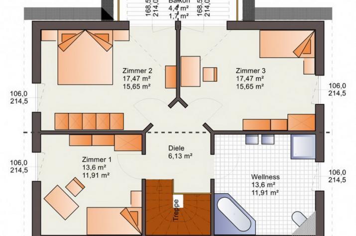 Einfamilienhaus - Landhaus - Satteldach - schlüsselfertig  - Grundrissvorschlag  Obergeschoß