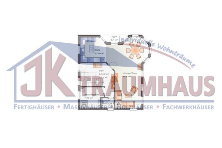 Einfamilienhaus mit romantischem Türmchen - www.jk-traumhaus.de - Grundriss EG