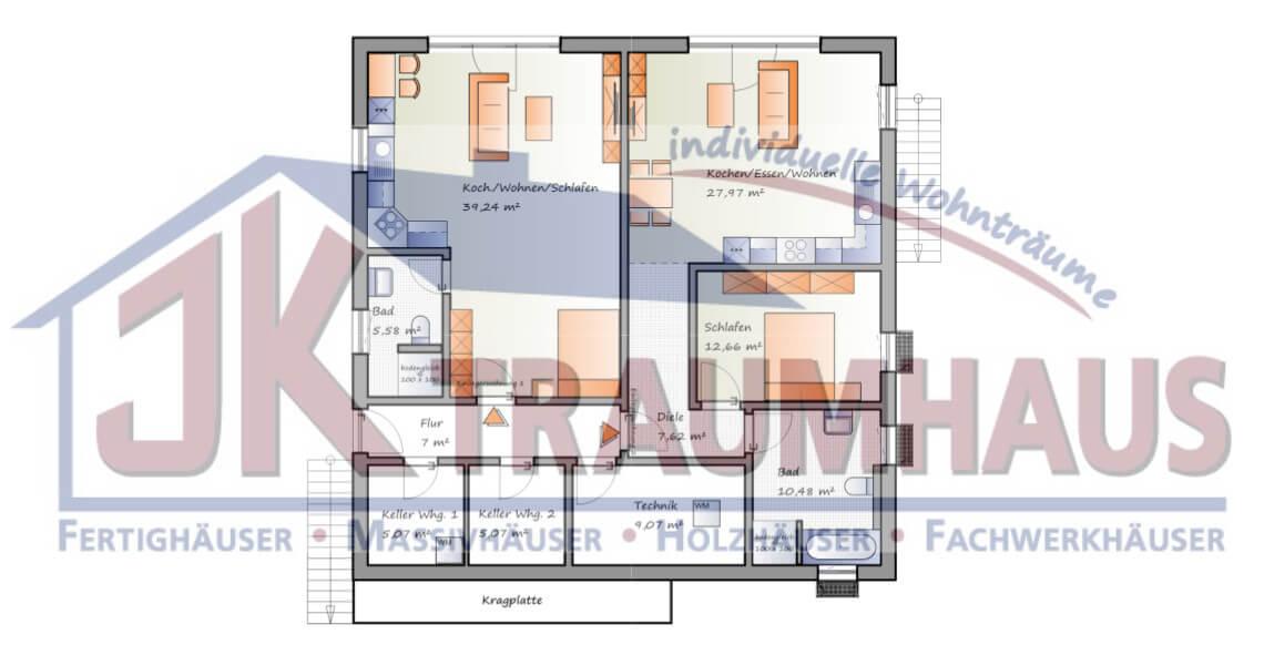 Einfamilienhaus mit zwei einliegerwohnungen for Haus grundrisse einfamilienhaus mit keller