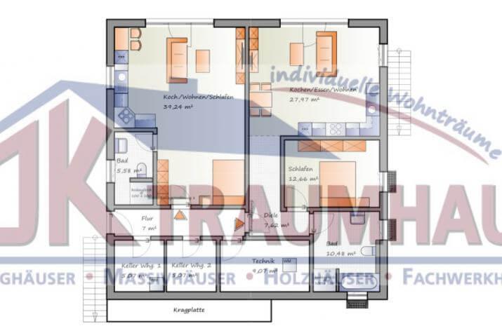 einfamilienhaus mit zwei einliegerwohnungen jk traumhaus. Black Bedroom Furniture Sets. Home Design Ideas