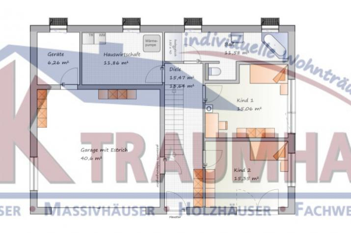 Flachdach bungalow f r hanglage for Traumhaus grundriss