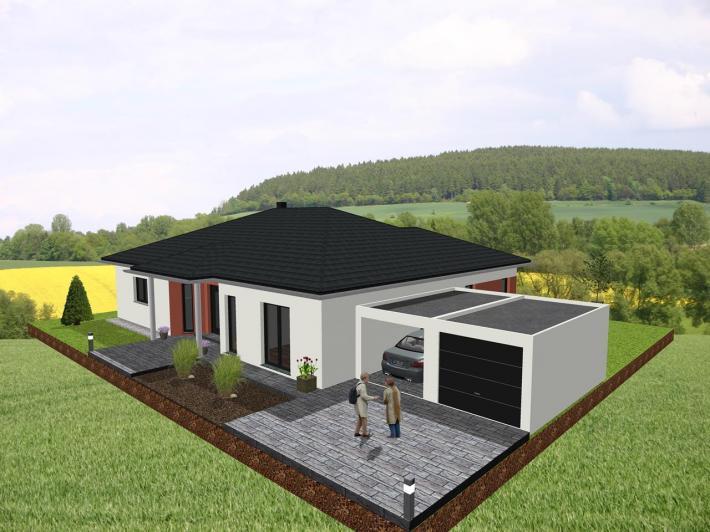gro z giger bungalow in u form mit loggia jk traumhaus. Black Bedroom Furniture Sets. Home Design Ideas
