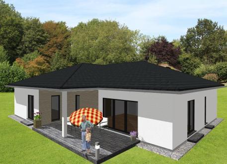 Bungalow Großzügiger Winkelbungalow mit integrierter Garage - www.jk-traumhaus.de