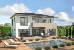 Schickes zweigeschossiges Einfamilienhaus mit Balkon der Firma Hanlo Haus