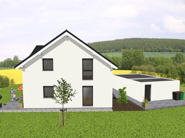 Klassisches einfamilienhaus mit satteldachgaube for Klassisches haus