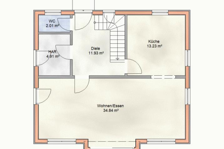 Klein und fein im Schwedenhausstil - Mit Holzverbundhaus zum eigenen Haus - Grundriss EG