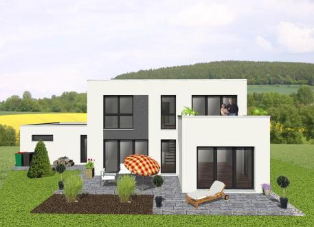 Einfamilienhaus Kompaktes Bauhaus mit Dachterrasse - www.jk-traumhaus.de