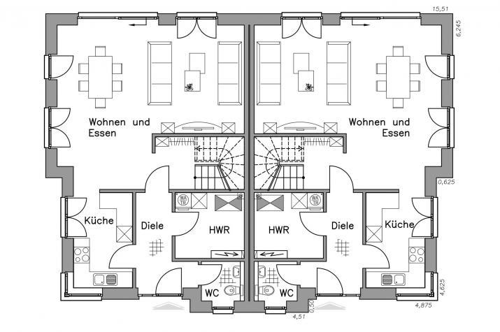 Massiv-Hausidee DH 120 M - EG-Grundriss DH 120 M