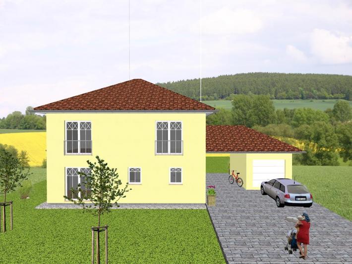 mediterrane stadtvilla mit garage carport anlage jk traumhaus. Black Bedroom Furniture Sets. Home Design Ideas