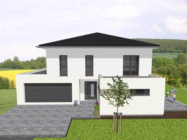 moderne stadtvilla mit integrierter garage jk traumhaus. Black Bedroom Furniture Sets. Home Design Ideas