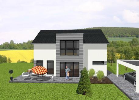 Modernes Einfamilienhaus mit Flachdachanbau - www.jk-traumhaus.de
