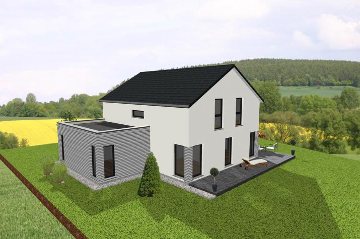 modernes einfamilienhaus mit flachdachanbau