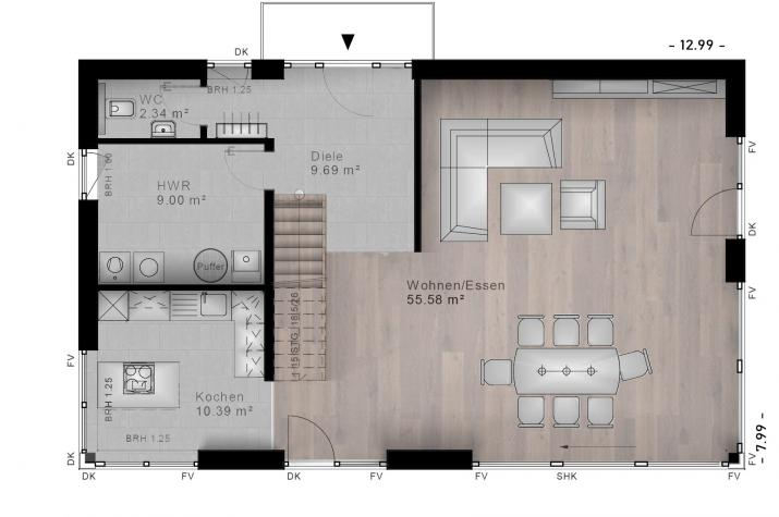 PULTDACH HAUS HIRZ-MAULSBACH 30-040 - Grundriss Erdgeschoss