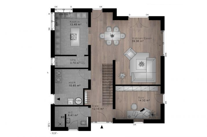 PULTDACH HAUS MUSCHEID 30-045 - Grundriss Erdgeschoss