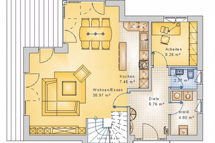 PULTDACH HAUS NISTERTAL 30-016 - Grundriss Erdgeschoss