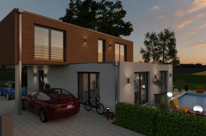 PURE 4 - Einfahrt, Terrasse in Abendstimmung