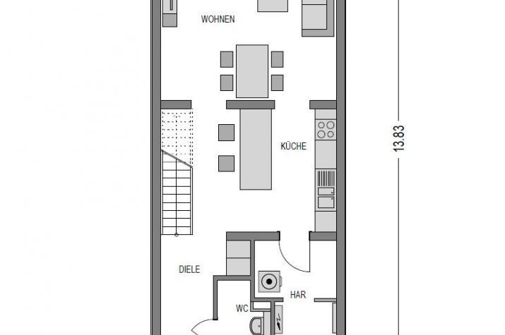 Reihenmittelhaus F280 in NRW und Hessen - EG