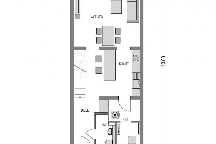 Reihenmittelhaus S280 in NRW und Hessen - EG