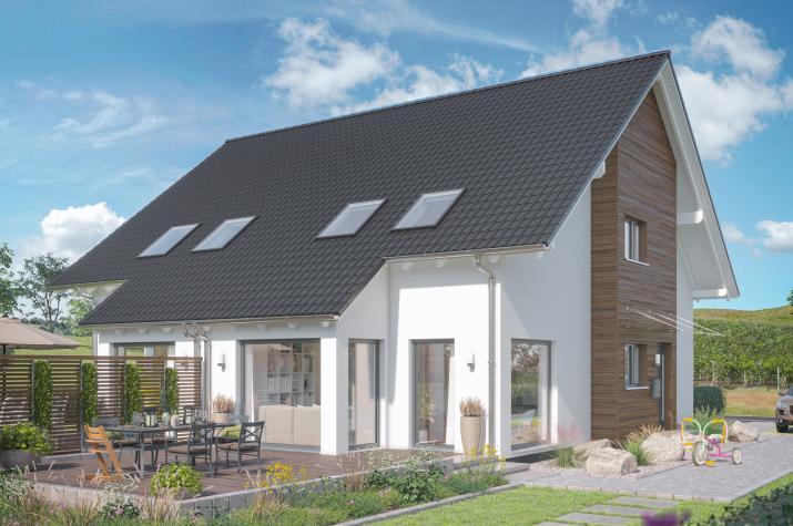 SOLUTION 125 L V2 - Kompaktes Doppelhaus mit Wintergarten-Erker unter Dachabschleppung