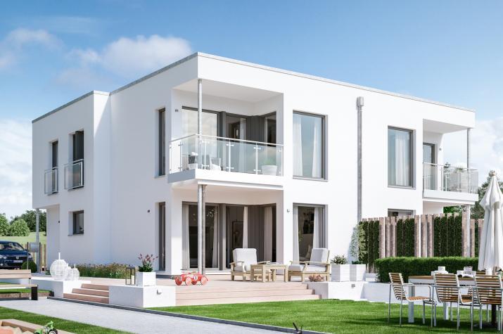 SOLUTION 242 V7 - Modernes Zweifamilienhaus mit zwei Erkern und überdachtem Balkon