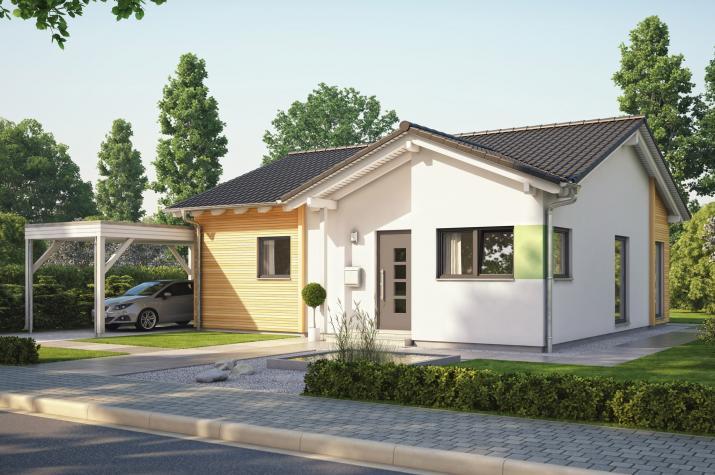 SOLUTION 78 V3 - SOLUTION 078 V3 – Satteldach-Bungalow mit Carport und Fassadenverkleidung aus Holz