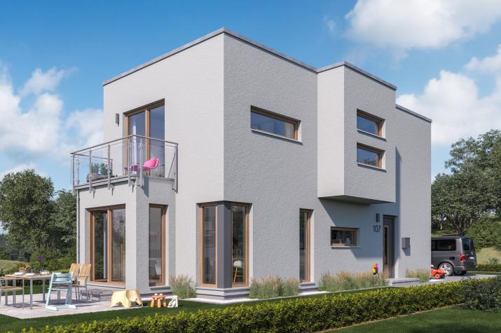 SUNSHINE 107 FD - Kompaktes Einfamilienhaus im Bauhausstil mit Erkern und Balkon