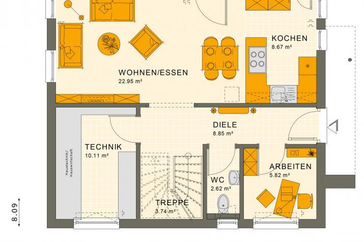 SUNSHINE 125 V3 - Grundriss Erdgeschoss
