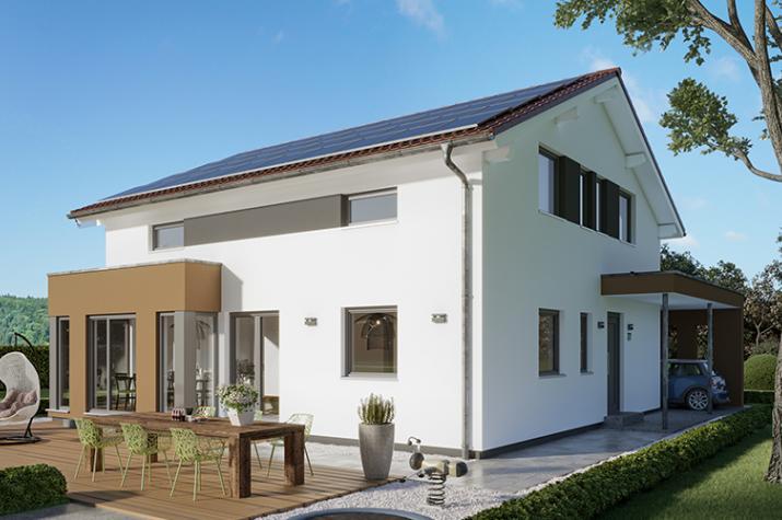 """SUNSHINE 167 V5 - SUNSHINE 167 V5 – Attraktives Einfamilienhaus mit Übereck-Erker und Carport """"Style"""" mit Eingangsüberdachung"""