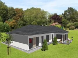 Schicker Winkelbungalow mit integrierter Garage -  www.jk-traumhaus.de