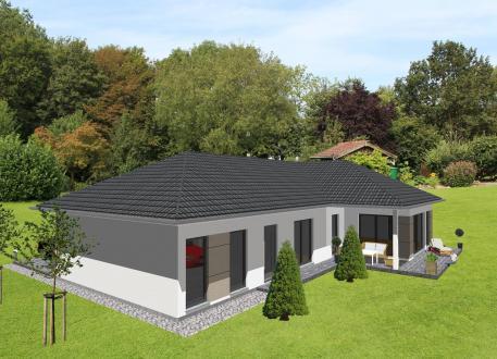 Einfamilienhaus Schicker Winkelbungalow mit integrierter Garage - www.jk-traumhaus.de