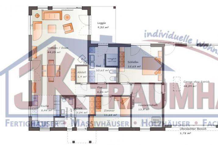 Schicker Winkelbungalow mit integrierter Garage -  www.jk-traumhaus.de - Grundriss EG