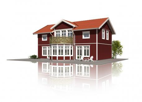 Niedrigenergiehaus Schwedenhaus Svalan mit Runderker und Balkon