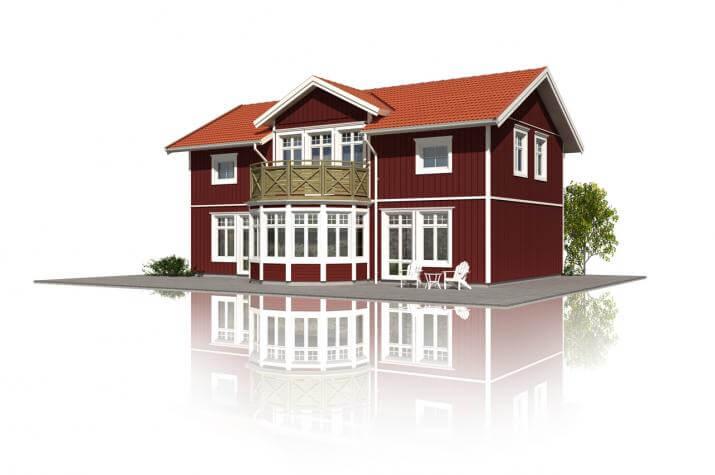 Schwedenhaus Svalan mit Runderker und Balkon -