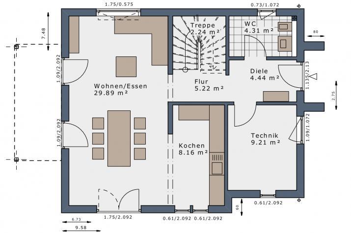 SmartSpace-E-120 Entwurf 3 - Grundriss Erdgeschoss