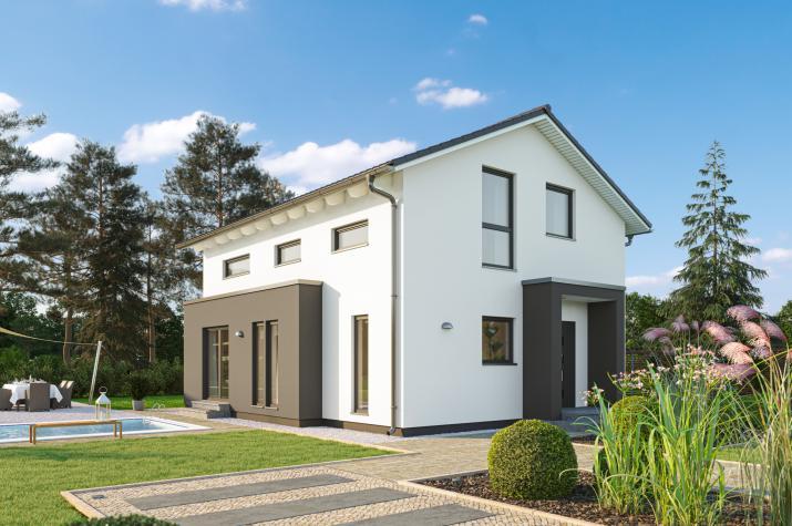 SmartSpace-E-120 Entwurf 3 - Außenansicht auf das Einfamilienhaus