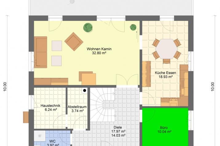 Stadtvilla 178 qm Wohnfläche auf Bodenplatte - Stadtvilla 178 Grundriss Erdgeschoss