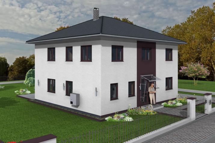 Stadtvilla 178 qm Wohnfläche auf Bodenplatte - Stadtvilla 178 Ansicht Strasse links