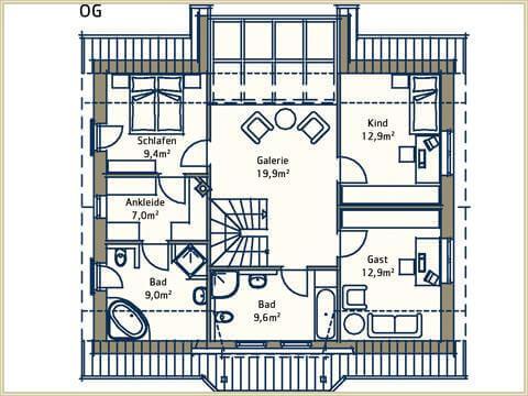 1 5 geschossig satteldach moderne konstruktion. Black Bedroom Furniture Sets. Home Design Ideas