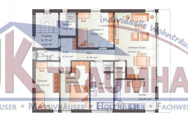 Vierfamilienhaus in moderner Architektur- www.jk-traumhaus.de - Grundriss EG