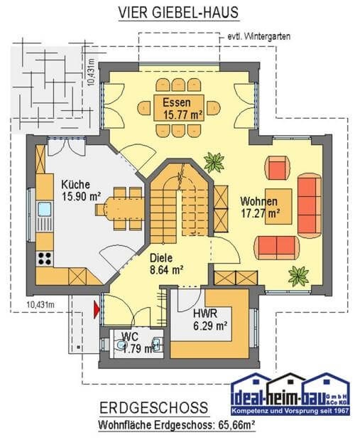 viergiebelhaus ideal heim bau. Black Bedroom Furniture Sets. Home Design Ideas