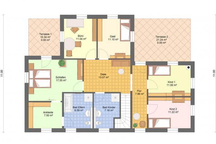 Villa Exklusiv auf Keller 194 qm Wohnfläche - Villa Exklusiv auf Keller 194 qm Grundriss Obergeschoss