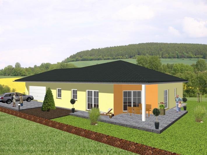 winkelbungalow mit angrenzender garage jk traumhaus. Black Bedroom Furniture Sets. Home Design Ideas