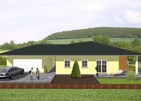 Einfamilienhaus Winkelbungalow mit angrenzender Garage - www.jk-traumhaus.de