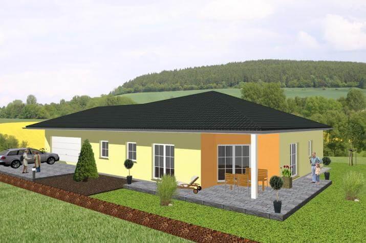 winkelbungalow mit angrenzender garage. Black Bedroom Furniture Sets. Home Design Ideas