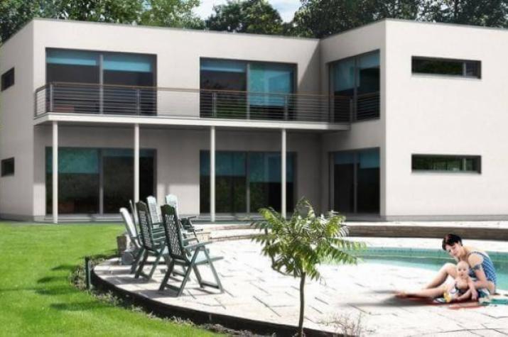 individuell geplant bauhausvilla mit klaren formen und gro z gigen fensterfl chen www. Black Bedroom Furniture Sets. Home Design Ideas