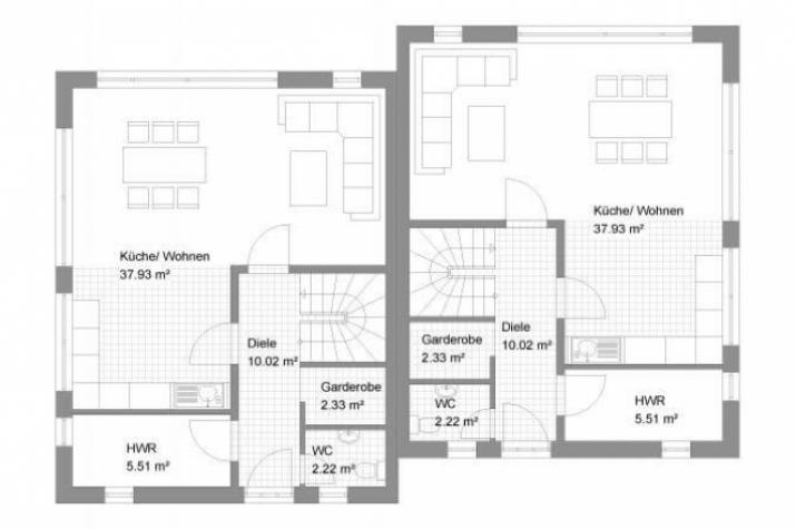Individuell geplant doppelhaus in moderner for Doppelhaus moderne architektur