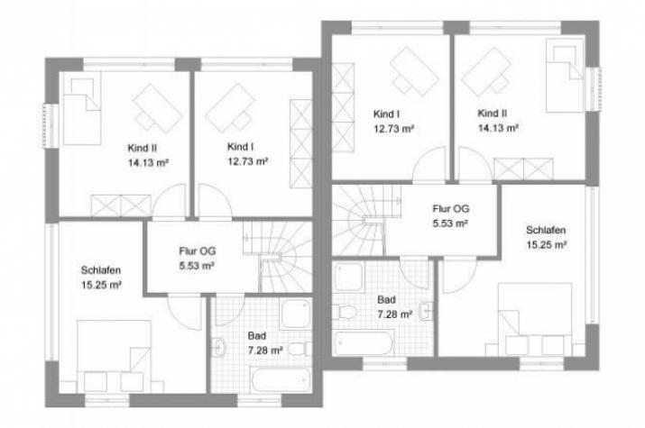 Individuell geplant doppelhaus in moderner for Zweifamilienhaus plan