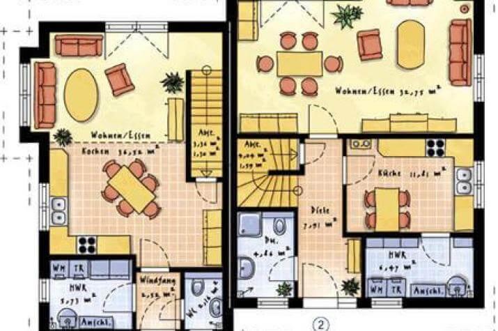 individuell geplant doppelhaus in unterschiedlicher gr e. Black Bedroom Furniture Sets. Home Design Ideas