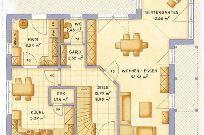individuell geplant durchdachtes familienhaus mit wintergarten ber eck. Black Bedroom Furniture Sets. Home Design Ideas
